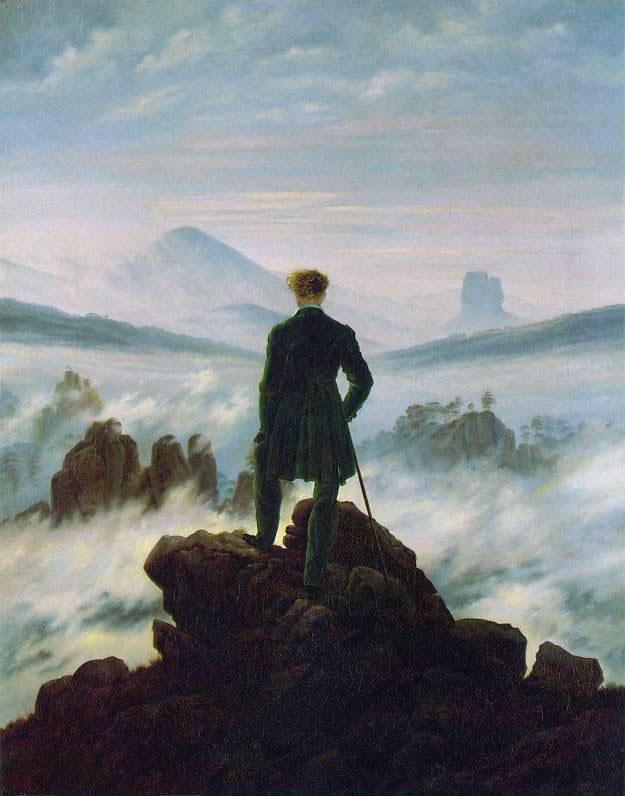 Quadro di Caspar David Friedrich Il viandante sul mare di nebbia