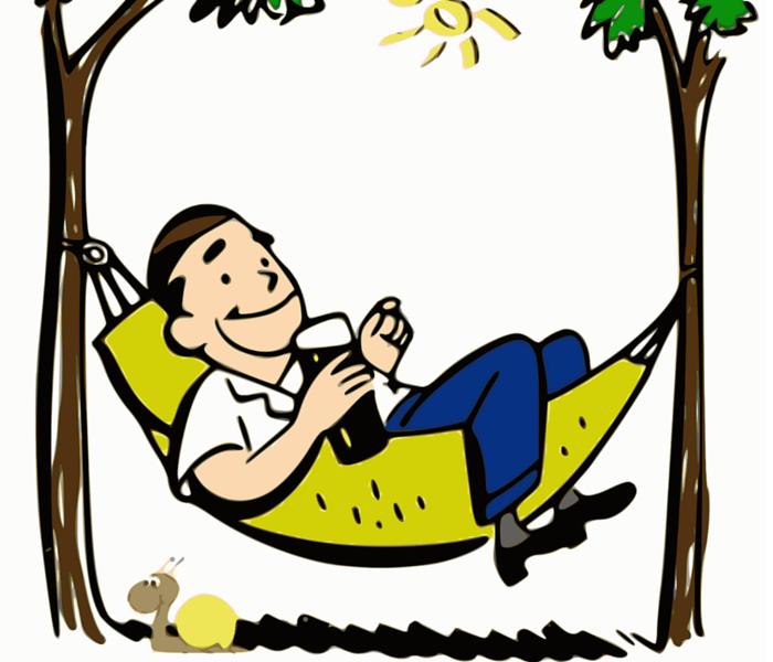 Comfort zone un signore sull'amaca