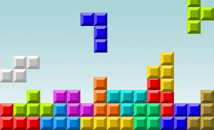 Una schermata del video game Tetris