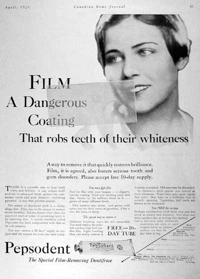 Una delle pubblicità del Pepsodent ideata da Claude Hopkins