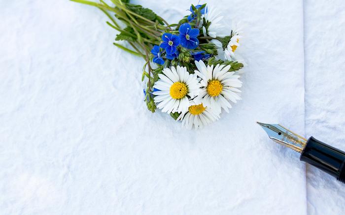 Carta penna fiori Diario della gratitudine